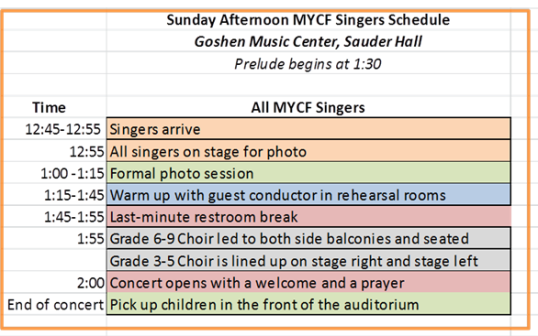 Sunday MYCF Singers Concert Schedule